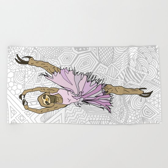 Sloth Ballerina Tutu Beach Towel