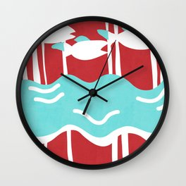hanafuda oriental fish Wall Clock