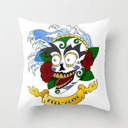 Feel Alive Skull Throw Pillow