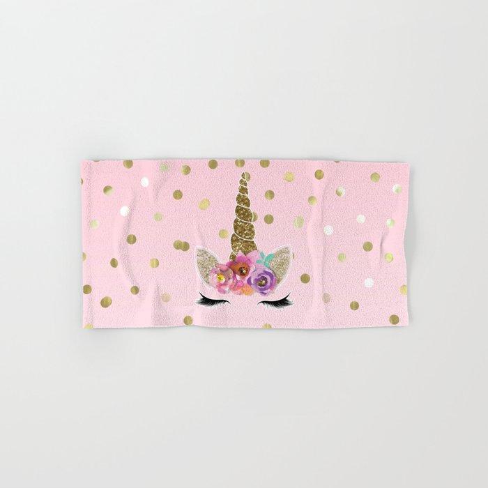 Floral Trendy Modern Unicorn Horn Gold Confetti Hand & Bath Towel