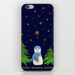 Sparkly gold stars, snowman and green tree iPhone Skin