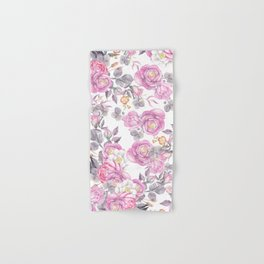 Elegant pink gray watercolor botanical roses flowers Hand & Bath Towel