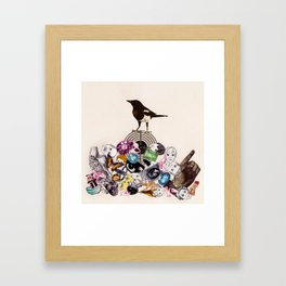 Magpie collector collage Framed Art Print