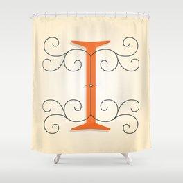 Letter I Initial Cap Shower Curtain