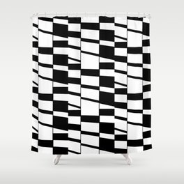 Slanting Rectangles - Black and White Graphic Art by Menega Sabidussi Shower Curtain