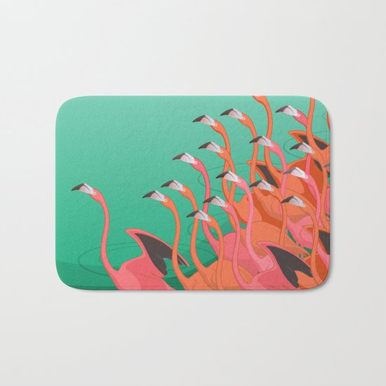 Fresco of the flamingoes. Bath Mat