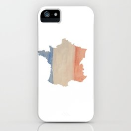 France Outlne with Tri-color Flag in Watercolors iPhone Case