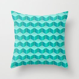 Ocean cubes, a symmetric pattern inspired by the sea. Throw Pillow