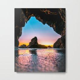 Ocean Cave At Sunset Metal Print