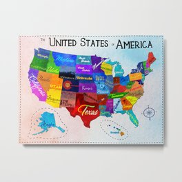 Watercolor Mosaic Map of America Metal Print