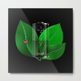 Battery with green leaves Metal Print