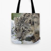 snow leopard Tote Bags featuring Snow Leopard by PICSL8