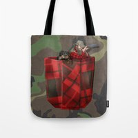 hunter x hunter Tote Bags featuring Hunter by Piotr Burdan