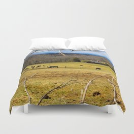 Cattle ranch overlooking the Blue Ridge Mountains Duvet Cover