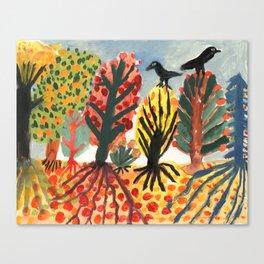Autumn trees and black birds Canvas Print