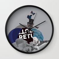 voyage Wall Clocks featuring Voyage by Kimberly Linn Design