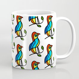"""Color Birds on a Twigs """"Paper Drawings/Paintings"""" Coffee Mug"""
