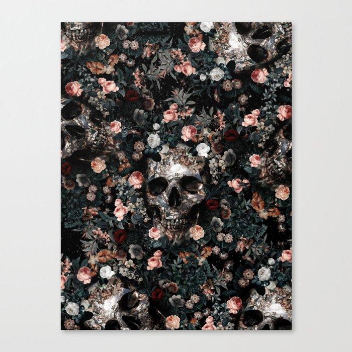 Skull and Floral pattern Leinwanddruck