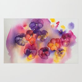 Spring watercolor flowers art colorful pansies Rug