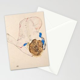 Egon Schiele - Nude with Blue Stockings, Bending Forward Stationery Cards