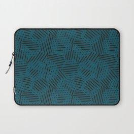 Blue Circles and Black Stripes Laptop Sleeve