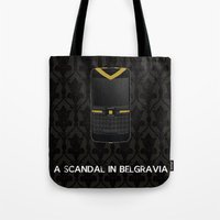scandal Tote Bags featuring A Scandal in Belgravia by MacGuffin Designs