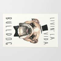 english bulldog Area & Throw Rugs featuring English Bulldog - livin' la vida bulldog by PaperTigress