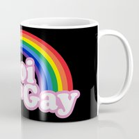 yaoi Mugs featuring Yaoi is Gay (High Contrast Version with T-shirts) by merimeaux