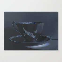The Black Teacup | Still Life | Kitchen Art | Tea Canvas Print