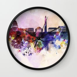 Washington DC skyline in watercolor background  Wall Clock