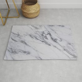 Marble - Black and White Gray Swirled Marble Design Rug