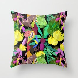 Tropical Fruit Bats in Night Black Throw Pillow