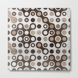 Geometric Pattern -  Wood and Golden Texture Metal Print
