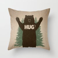 hug Throw Pillows featuring Bear Hug by powerpig