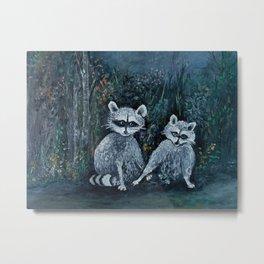 Rambling Raccoons Midnight Masquerade Metal Print