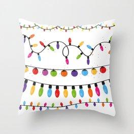 Light Bulbs Collection. Set of Christmas lights for Xmas holiday greeting card design vector backgro Throw Pillow