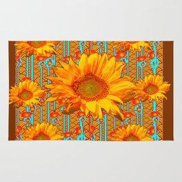 Coffee Brown Sunflower Pattern Orange & Turquoise Rug