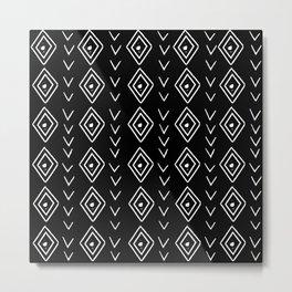 mudcloth 8 minimal textured black and white pattern home decor minimalist Metal Print