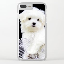 Lancelot the Maltese Puppy in Silver Sled with Red Christmas Poinsettia Clear iPhone Case