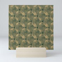 Zen Circles Block Print In Green and Gold Mini Art Print