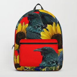 DECORATIVE RED ART SUNFLOWERS & CROW/RAVENS COVEN Backpack