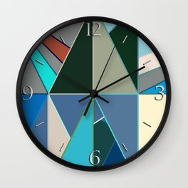 Mid-Century Modern Abstract, Turquoise and Neutrals Wall Clock