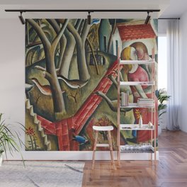 1924 Classical Masterpiece 'The Garden Enclosed' by David Jones Wall Mural