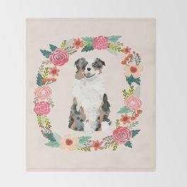 australian shepherd blue merle floral wreath dog gifts pet portraits Throw Blanket
