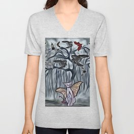 Halloween Twilight Tree with Bats, Black Ravens & Flying Cats Unisex V-Neck