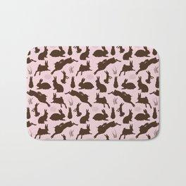 Rabbit Pattern | Rabbit Silhouettes | Bunny Rabbits | Bunnies | Hares | Pink and Brown | Bath Mat