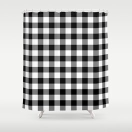 Large Black Christmas Gingham Plaid Check Shower Curtain