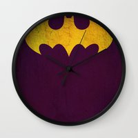 batgirl Wall Clocks featuring Batgirl by Fries Frame