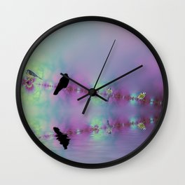 Birds on a wire reflected Wall Clock