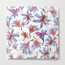 Floral Lace Blue&red Metal Print